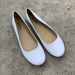 Soda White Plain Comfy Slip On Ballet Flats